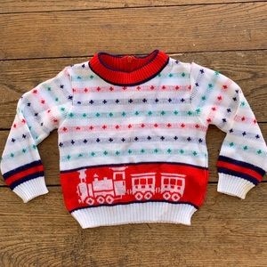 Vintage 70s Acrylic Knit Train Sweater